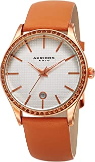 Akribos XXIV Sparkling Crystals Women's Watch - Grooved Sparkling Bezel - On a Genuine Leather Strap - AK964