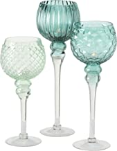 Spectacular Cape Cod Long Stem Candle Holders, Set of 3, Shades of Sky Blue, Quilted, Dimple, and Ripple Glass, 5 Inch Can...