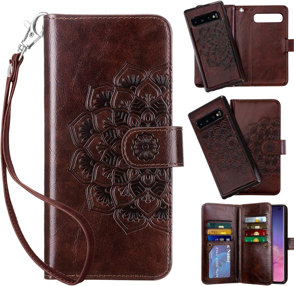 Vofolen 2-in-1 Case for Galaxy S10 Case Wallet Credit Card Holder ID Slot Detachable Strap Hybrid Protective Slim Hard Shell Magnetic PU Leather Folio Flip Cover Case for Galaxy S10 Mandala Brown