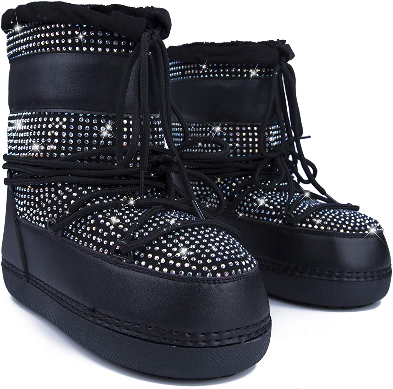 Cape Robbin Freeze Warm Winter Boots for Women Girls, Lace Up Snow Moon Boots, Ladies Sparkly Winter Boots