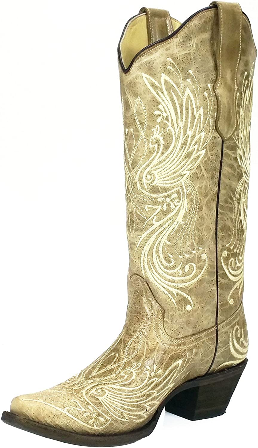Corral E1035 Bone Beige Angel Wings Embroidered Boots