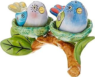 Appletree Design Flights of Fancy Bird Nest Salt and Pepper Set and Tealight Holder, 5-1/8 by 3-3/8-Inch
