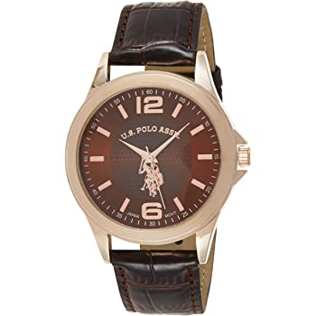 U.S. Polo Assn. Classic Men's USC50201 Rose Gold-Tone Watch with Brown Faux-Leather Band
