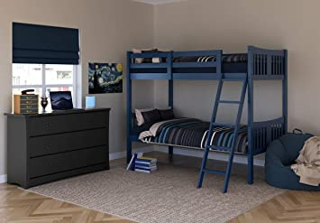 Amazon Com Storkcraft Caribou Solid Hardwood Twin Bunk Bed With Ladder And Safety Rail Navy Baby