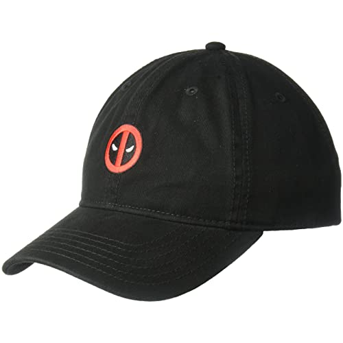 a7c61bafad792f Marvel Men's Embroidered Deadpool Baseball Cap, 100% Washed Cotton Twill