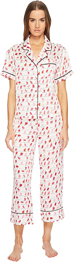 Kate Spade New York Lipstick Cropped Pajama Set