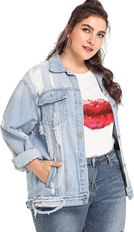 Floerns Women's Plus Size Ripped Distressed Long Sleeve Denim Jacket