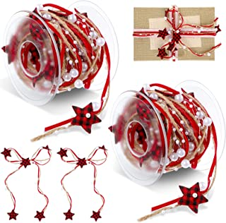 2 Rolls 32.8 feet Bead Faux Pearl Ribbon Christmas Buffalo Plaid Ribbon Christmas Star Faux Pearl Beads Wired Ribbons for ...