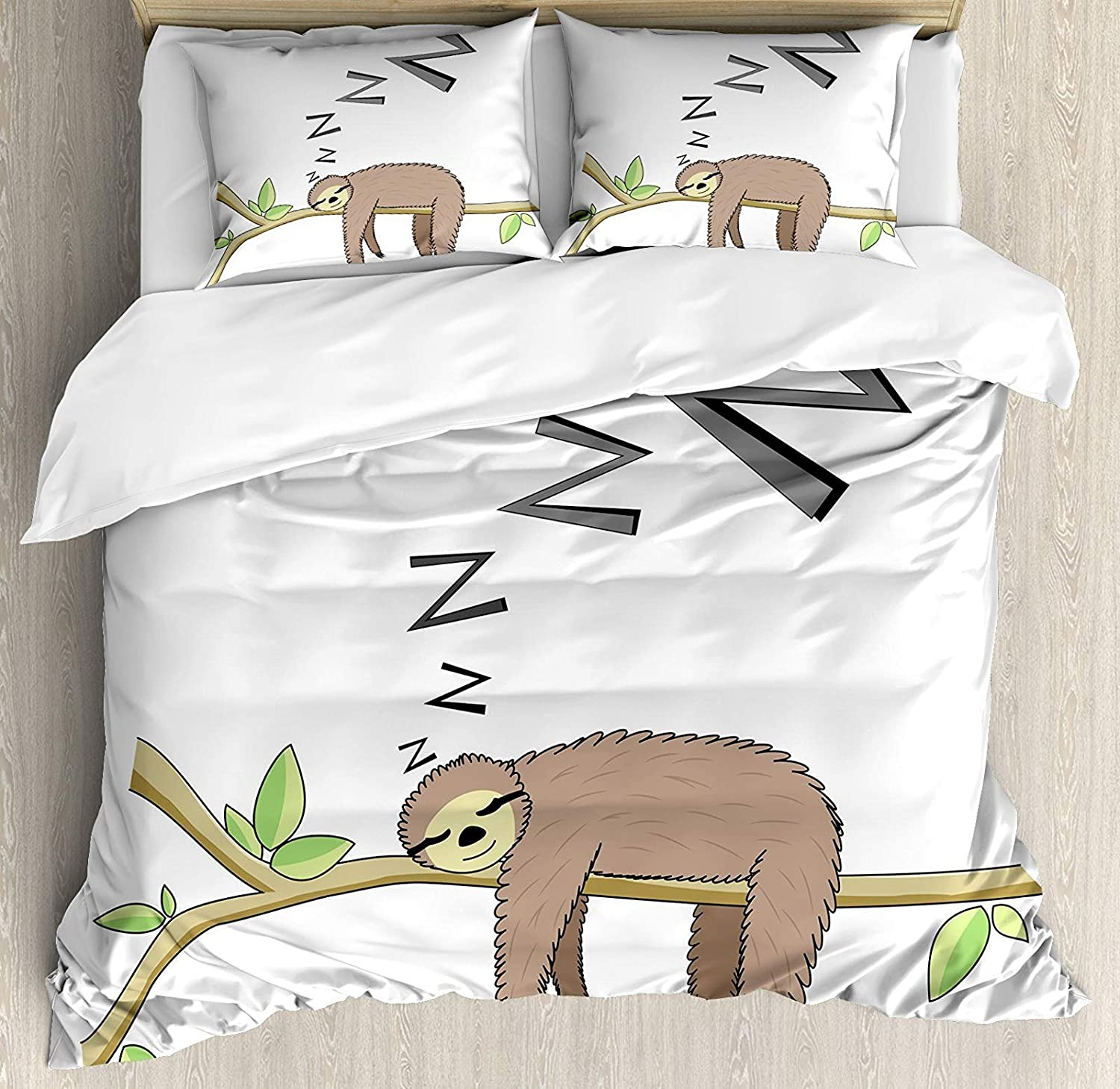 Sloth 4 Pcs Bedding Set Twin Size, Arboreal Mammal Sleeping on Branch in Forest Lazy Mood Resting Relaxing Theme All Season Duvet Cover Bed Set, Grey Green Brown
