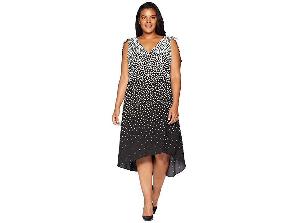 Adrianna Papell Plus Size Moody Dot High-Low Dress (Black/Ecru) Women
