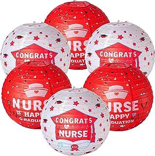 6 Pieces Nurse Graduation Paper Lanterns, Nurse Lanterns Decoration, Red White Congrats Nurse Printed Paper Lantern, Round...
