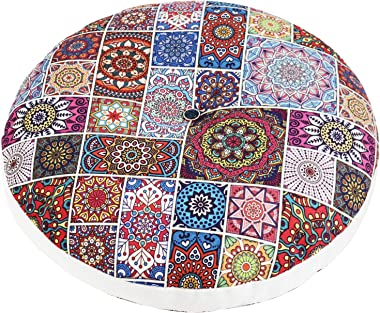 Tiita Boho Floor Pillow Mandala Flower Meditation Pillow Round Patio Seat Cushion India Floor Pad Indoor/Outdoor 22x22 Inch,
