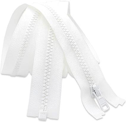 Non-separable zipper Nylon Length 25 cm White color