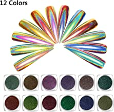 Vrenmol 12 Colors 0.2g Peacock Chameleon Holographic Nail Powder Laser Rainbow Mirror Effect Nail Art Chrome Pigment Glitter