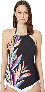 24th & Ocean Women's High Neck Halter Handkerchief Tankini Swimsuit Top