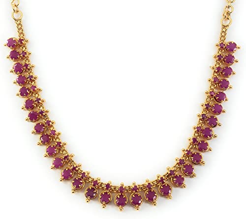 AFJ GOLD 1 Gram Micro Gold Plated Traditional Trendy South Indian Fashion Jewellery Stylish Ruby Emrald Stone Necklac...