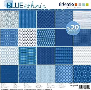 Bloc papier 30 cm Blue Ethnic 40 feuilles - Artémio