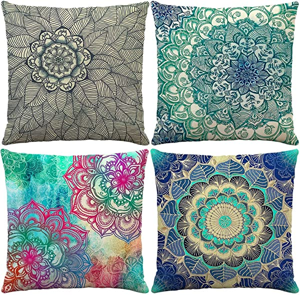 Pack Of 4 Outdoor Decorative Throw Pillow Covers Bohemian Blue Red Green Floral Beige Burlap Cotton Linen 18x18 Inches Rustic Patio Pillow Protectors For Living Room No Insert