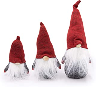 3 Pack - Small, Medium and Large Swedish Gnomes, Scandinavian Tomte, Plush Toy Winter Table Ornament Decoration, Yule Santa Nisse, Holiday Gnome Gifts, Nordic Elf Figurines