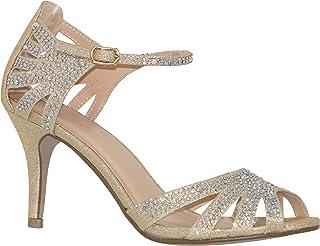 MVE Shoes Women's Party Pumps-Pointed LowKitten Heel-Rhinestone Shoe-Classic Slip on-Weedding Dress Shoe by Classy Women