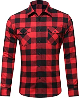 Hibluco Men's Long Sleeve Button Down Casual Plaid Flannel Shirt with Pockets