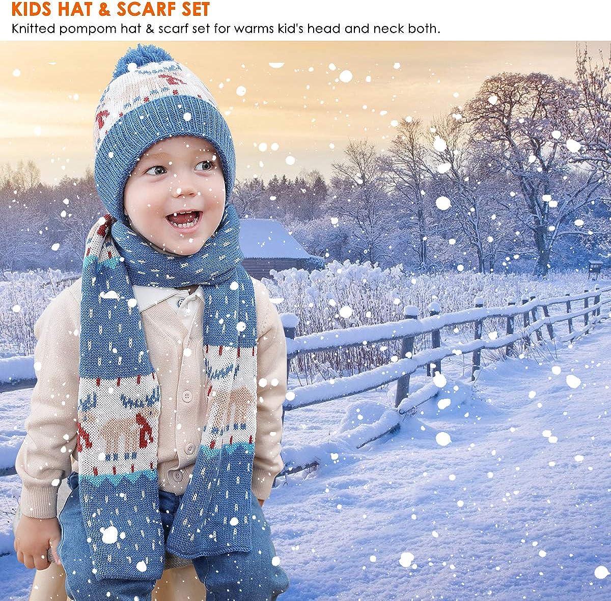 OhhGo 2Pcs Kids Boys Girls Hat Scarf Set Children Winter Knitted Warm Hat Neck Warmer for 1-4 Year Old Kids