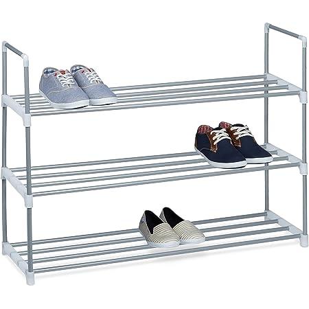Relaxdays Zapatero Metal, Estantería Zapatos, Estante, 3 Baldas, Metálico, 12 Pares, 1 Ud, 70 x 90 x 30 cm, Plateado
