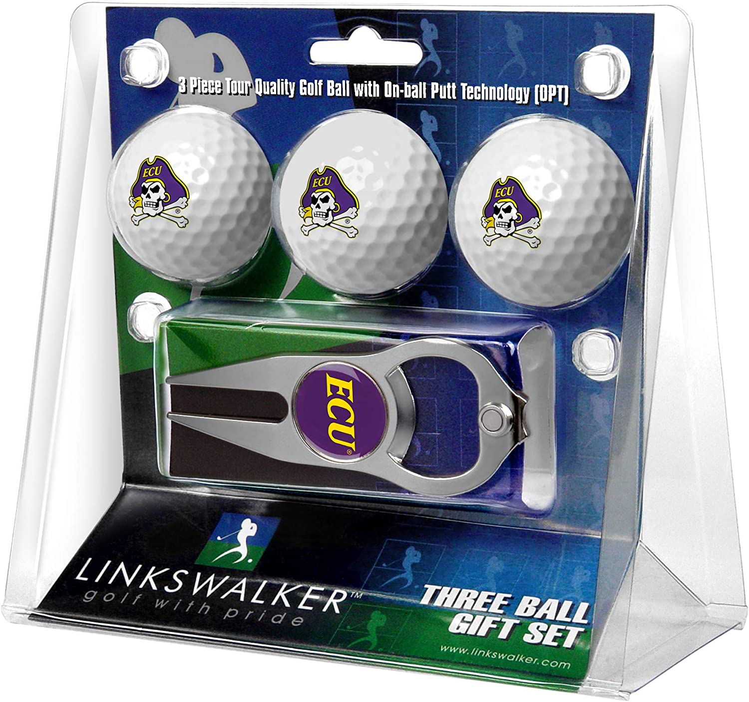 NCAA East Carolina Pirates - 3 Ball Gift Pack with Hat Trick Divot Tool