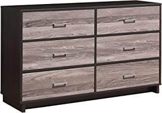 Novogratz 6 Drawer Colebrook Wood Dresser, Espresso/Weathered Oak