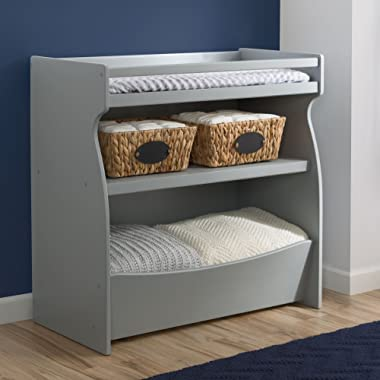 Delta Children 2-in-1 Changing Table and Storage Unit with Changing Pad, Grey