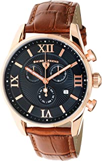 Swiss Legend Men's Belleza Analog Swiss Quartz Watch Black Dial and Rose Gold Stainless Steel Case with Brown Leather Strap 22011-RG-01-BR