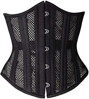 SHAPERX 26 Double Steel Boned Breathable Mesh Corset Heavy Duty Waist Training Shaper, SZ1996-Black-3XL
