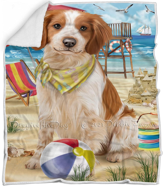 Pet Friendly Beach Brittany Spaniel Max 90% OFF Multicolor Flu Blanket Dog New Orleans Mall -