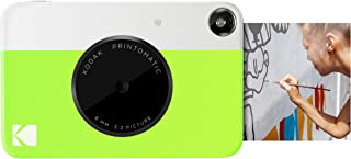 Kodak Printomatic - Cámara de impresión instantánea imprime en Papel Zink 5 x 7.6 cm con respaldo adhesivo verde neón