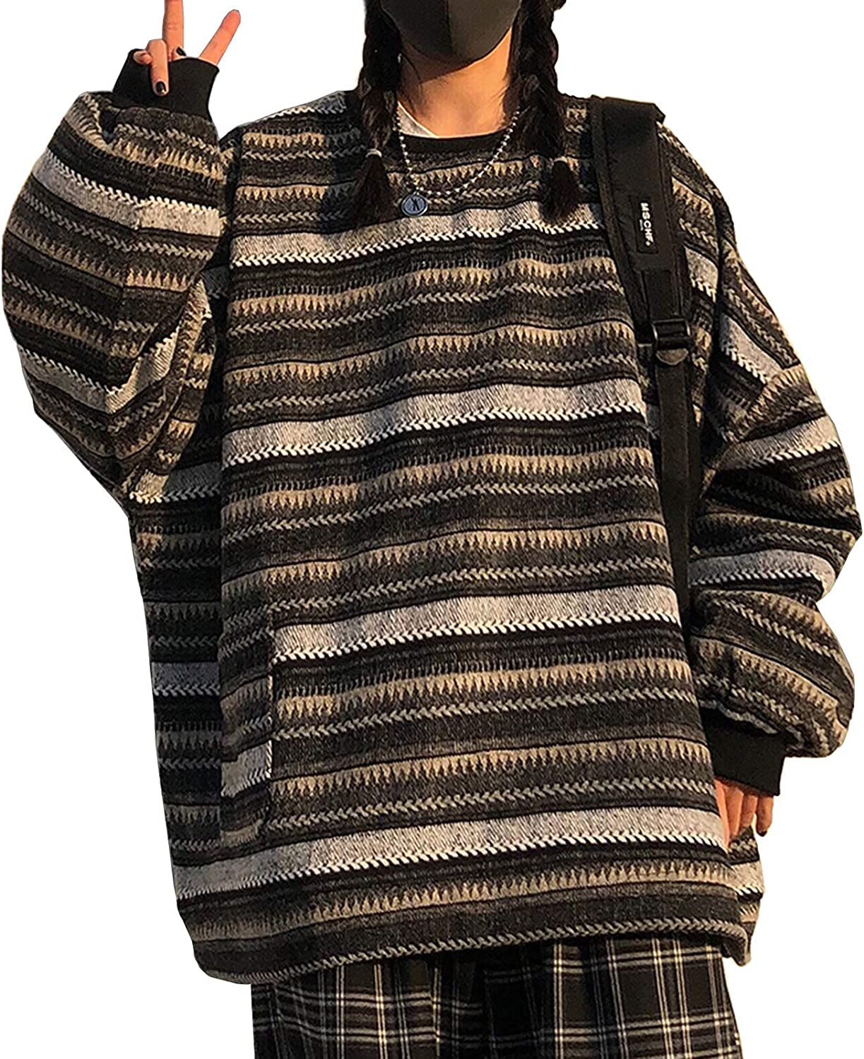 quality assurance 55% OFF Women Oversized Long Sleeve Striped Jumpe Sweater Casual Hip Hop