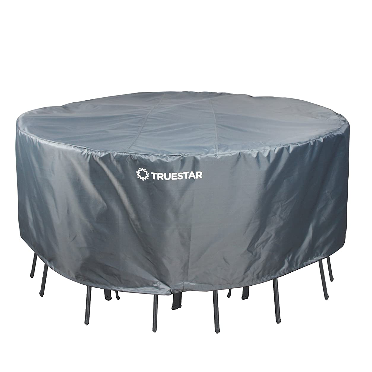にはまって宿題をする正午Truestar Round Patio Table & Chair Set Cover, Water Resistant Outdoor Furniture Cover, Dinning Set Cover, All Year Round Protection (TB01-GREY)