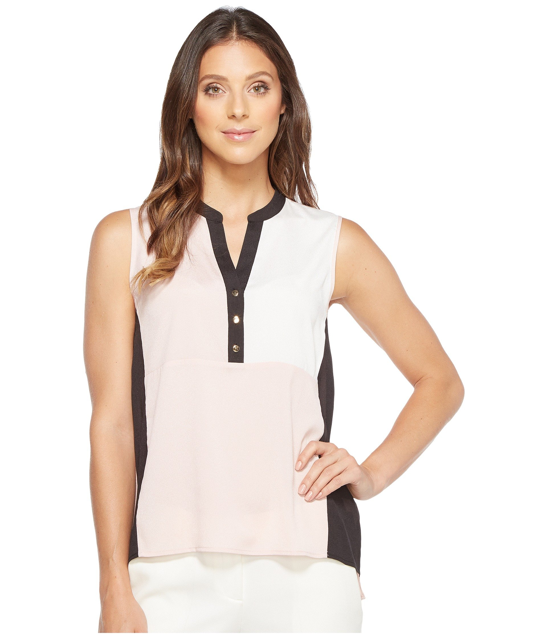 Georgette Color Block Sleeveless with Buttons