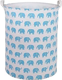 CLOCOR Large Storage Bin-Cotton Storage Basket-Round Gift Basket with Handles for Toys,Laundry,Baby Nursery (Sky-Blue Elep...