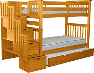 Bedz King Tall Stairway Bunk Beds Twin over Twin with 4 Drawers in the Steps and a Twin Trundle, Honey