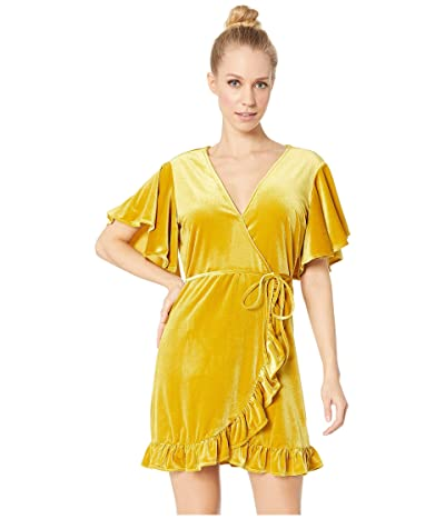 Jack by BB Dakota West Village Velvet Wrap Dress (Golden Palm) Women