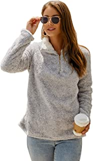 Womens Long Sleeve Half Zip Fuzzy Fleece Pullover Jacket Outwear Sweatshirt Tops Coat with Pocket