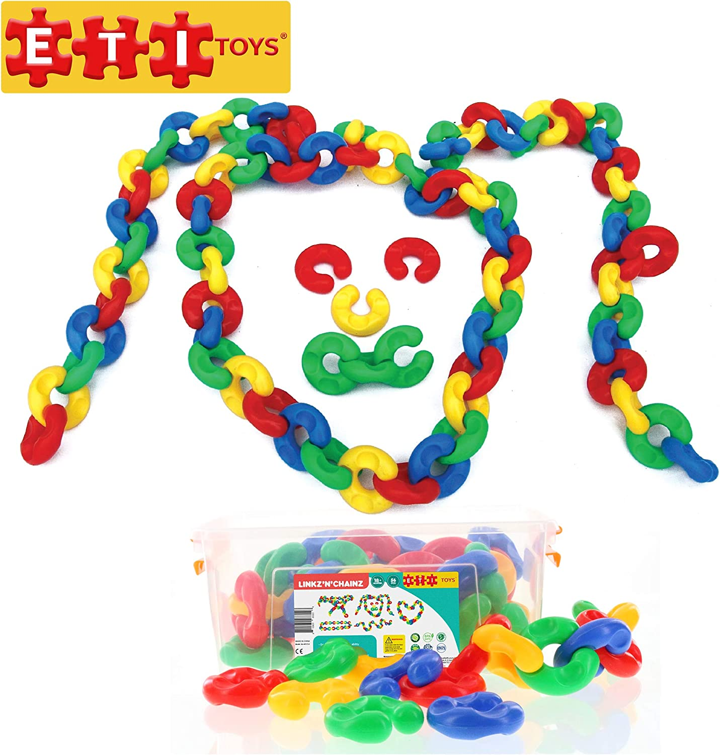 ETI Toys   56 Piece Linkz'N'Chainz; Build Animals, Necklace, Heart, Clown, Endless Designs  100% NonToxic, Fun, Creative Skills Development  Best Gift, Toy for 3, 4, 5 Year Old Boys and Girls.