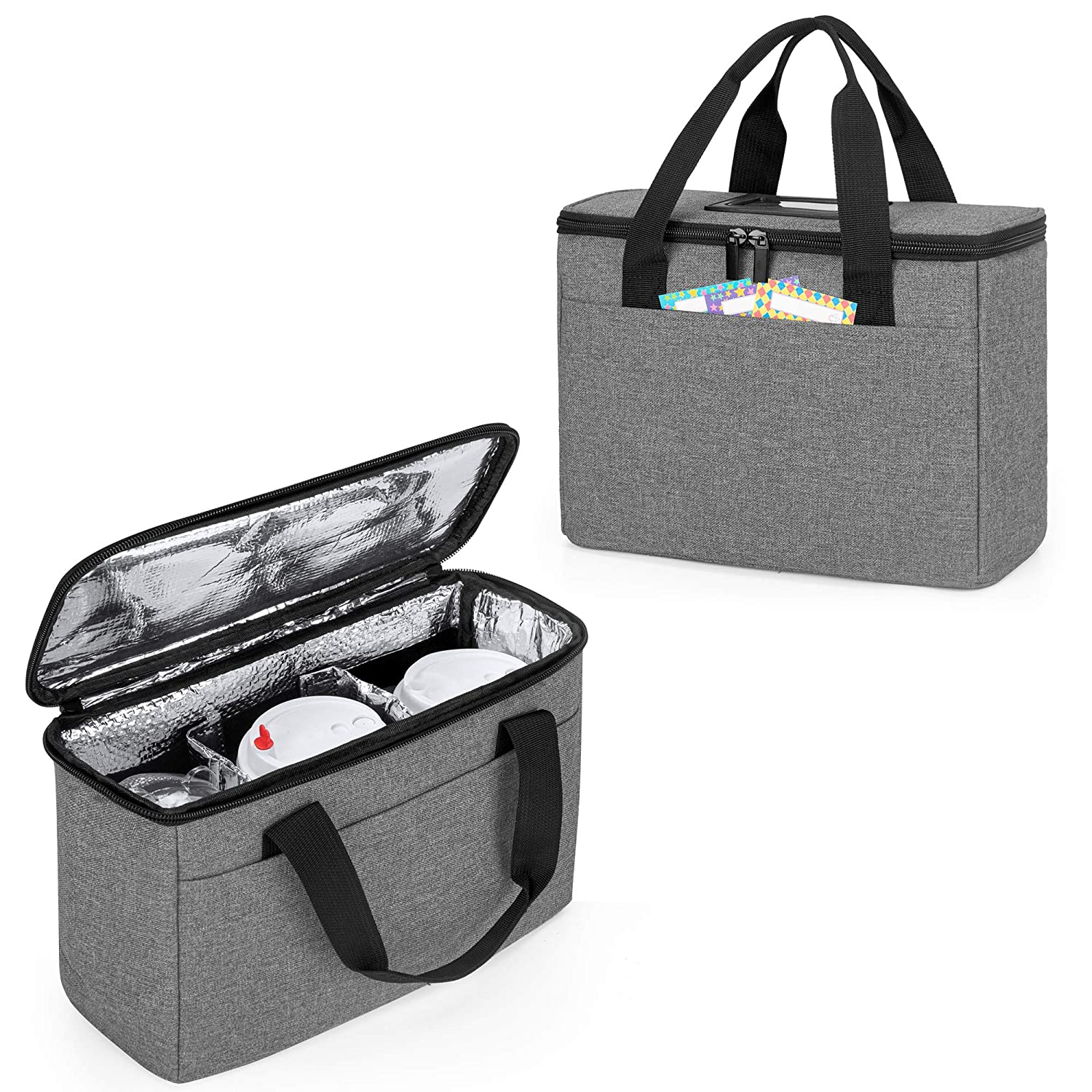 Beverages Carrier Tote with Handle for Outdoors Trunab Reusable 3 Cups Drink Carrier for Delivery with Adjustable Dividers Insulated Drink Caddy Holder Bag for Take Out Black