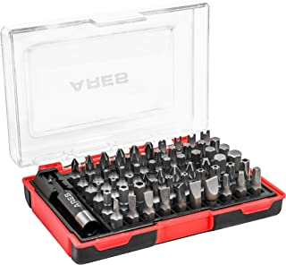 ARES 70010-61-Piece Security Bit Set with Magnetic Extension Bit Holder - Includes Tamper Resistant, Slotted, Pozi, Phillips, Square, Spanner, Metric Hex and Star Bits