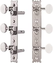 Golden Age Restoration Tuners for Slotted Peghead Guitar - Fleur-de-Lis, Bright Nickel with Ivoroid Knobs