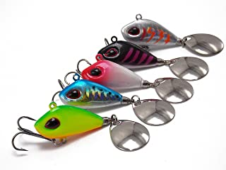 CATCHSIF 5pcs sink fast Tail Spinners Blade Baits with ball bearing swivel link add flash and vibration