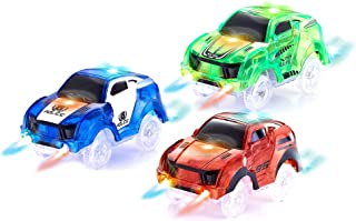 HAPISIMI Track Car 3 Pack, Green Race, Blue Police and Red Sport Car, with 5 LED Lights, Compatible with Most Tracks Including Magic Tracks, Neo Twister Tracks, Boys and Girls