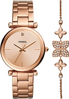 FOSSIL Womens Quartz Watch, Analog Display and Stainless Steel Strap ES4685SET