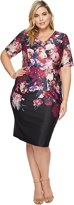 Adrianna Papell - Plus Size Printed Scuba Sheath Dress