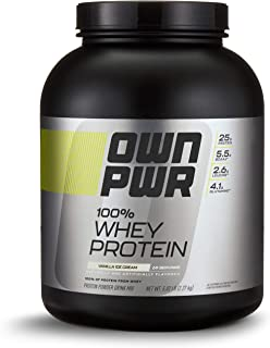 OWN PWR 100% Whey Protein Powder, Vanilla Ice Cream, 25 G Protein with Enzymes, 5 Pound Value Size (69 Servings)